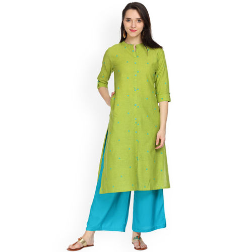 Alena Women Turquoise Blue Wide Leg Solid Palazzos