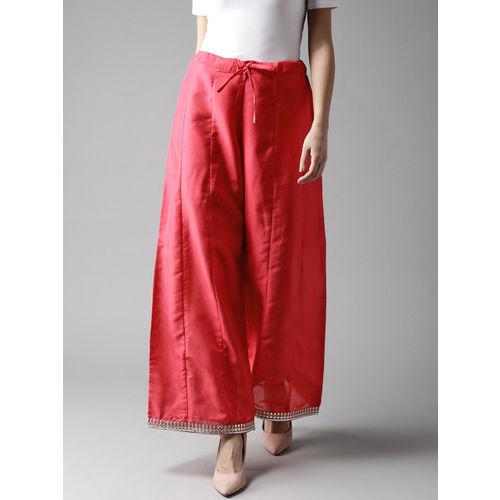 Moda Rapido Women Pink Hem Design Wide Leg Palazzos