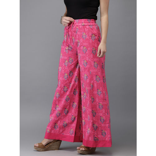 HERE&NOW Women Magenta & Blue Printed Flared Palazzos
