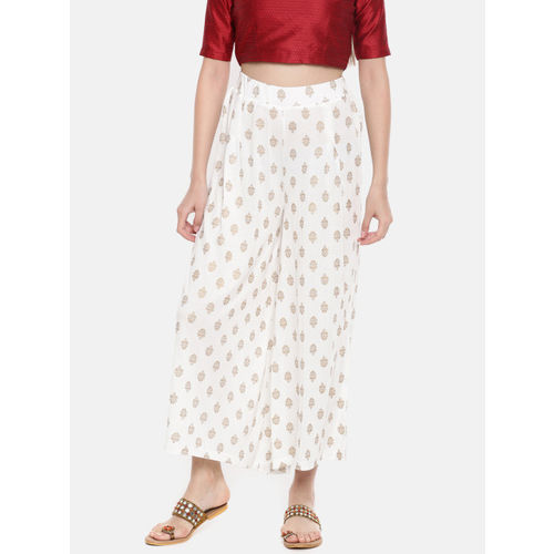 Melange by Lifestyle Women Off-White Flared Printed Palazzos