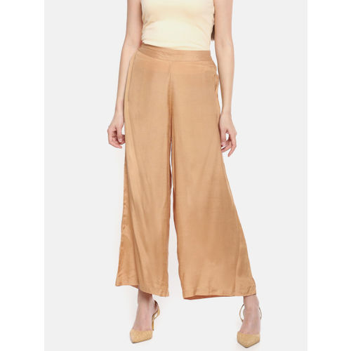 Melange by Lifestyle Women Gold-Toned Solid Flared Palazzos