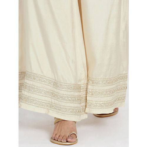 all about you Women Beige Flared Solid Palazzos
