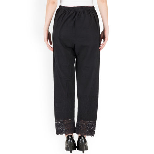 Castle Women Black Straight Embroidered Palazzos