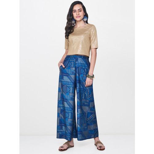 Global Desi Women Blue Printed Wide Leg Palazzos