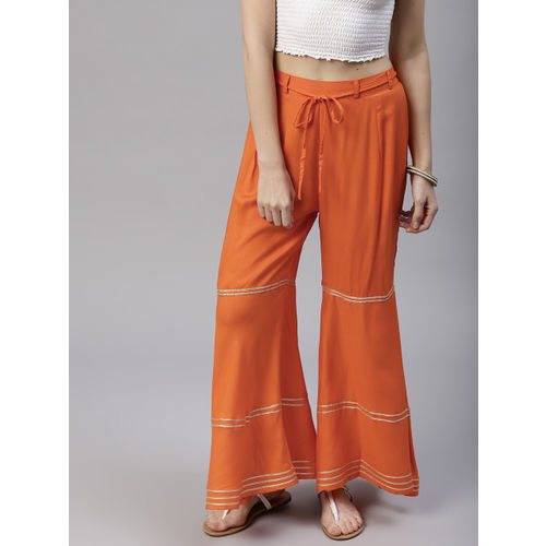 Tulsattva Women Orange Striped Sharara
