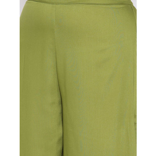 AURELIA Women Green Wide Leg Solid Palazzos