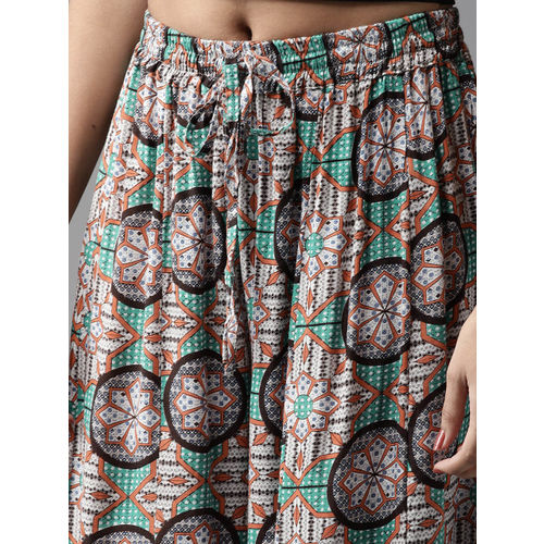 HERE&NOW Women Grey & Teal Green Printed Flared Palazzos