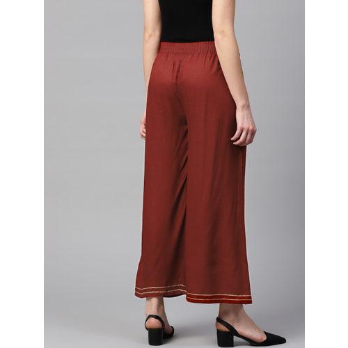 Yufta Women Rust Brown Solid Straight Palazzos