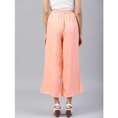 Shree Women Peach-Coloured Wide Leg Solid Palazzos