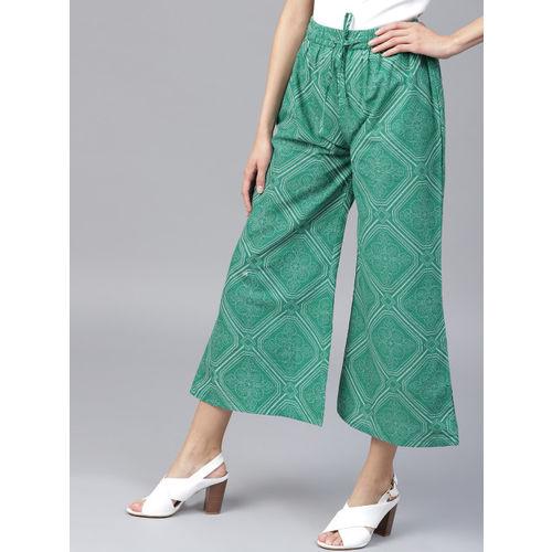 Yufta Women Green & Off-White Printed Wide Leg Cropped Palazzos