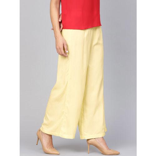 Shree Women Yellow Solid Wide Leg Palazzos