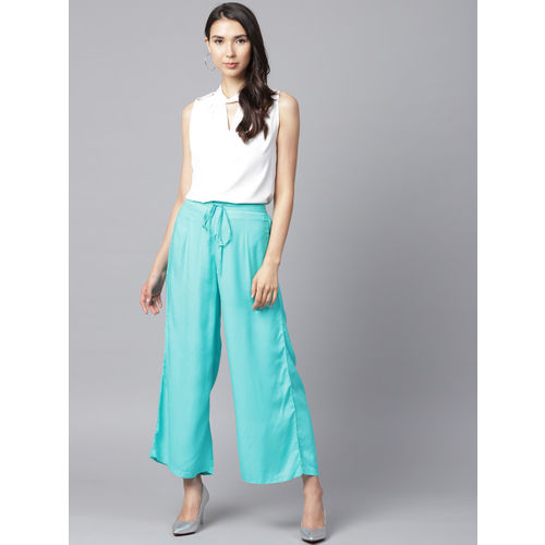 Shree Women Blue Solid Wide Leg Palazzos
