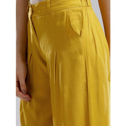 W Women Mustard Yellow Solid Wide Leg Palazzos