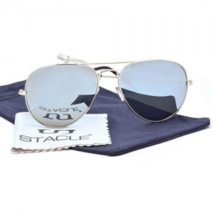 Stacle Flash Mirrored Pilot Unisex Aviator Sunglasses (ST5203|58|Silver and Violet)- Pack of 2