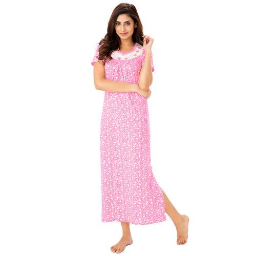 PrettySecrets Pink Printed Nightdress
