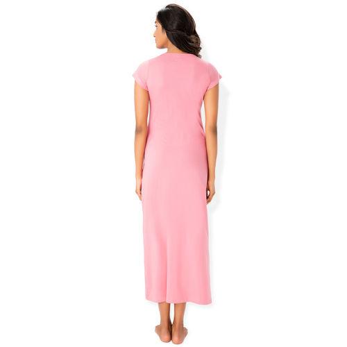 PrettySecrets Pink Solid Nightdress