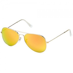 Joe Black Mirrored Aviator Unisex Sunglasses - (JB-666-C11|58|Gold Lens)