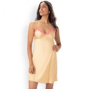 PrettySecrets Beige Satin Solid Nightdress NW003AW18