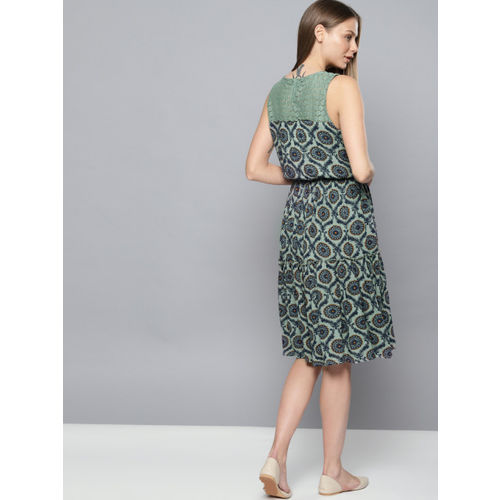 Chemistry Women Green & Navy Blue Printed Fit & Flare Dress