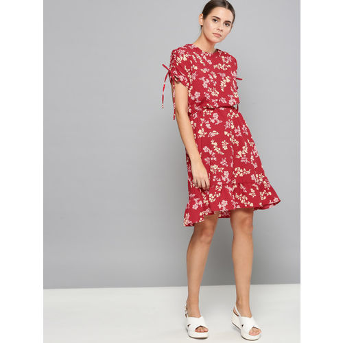 Chemistry Red & White Printed Blouson Dress