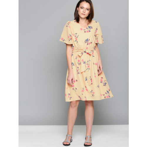 Chemistry Women Beige Printed Fit and Flare Dress