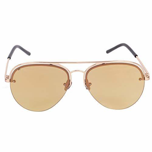 FCUK Mirrored Aviator Unisex Sunglasses - (FC 7400 C2 S 60 Gold Color Lens)