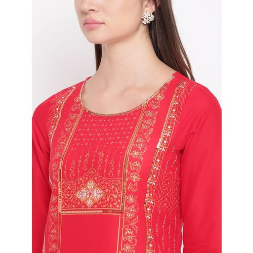 AURELIA Women Red & Golden Printed Straight Kurta