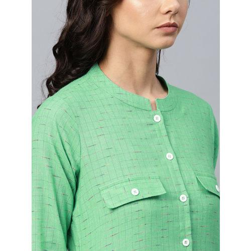 Jompers Women Green Woven Design Straight Kurta