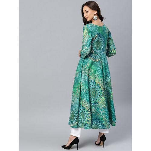 Jompers Women Green & Blue Printed A-Line Kurta