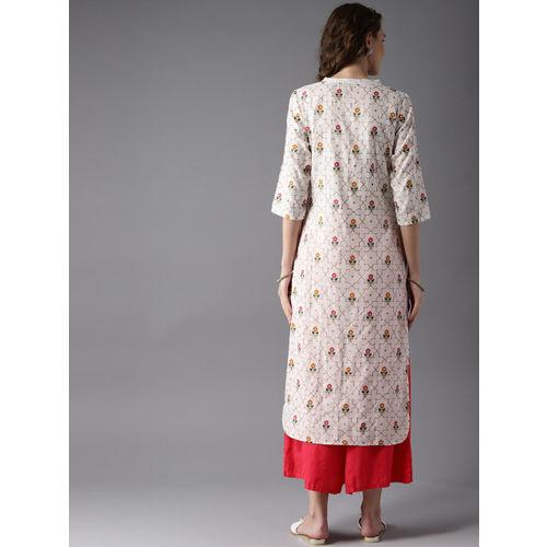 Moda Rapido Women White & Golden Printed Straight Kurta