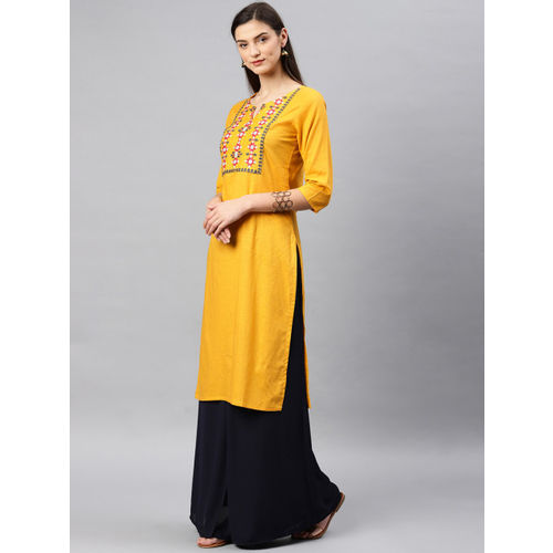 Alena Women Mustard Yoke Design Straight Kurta