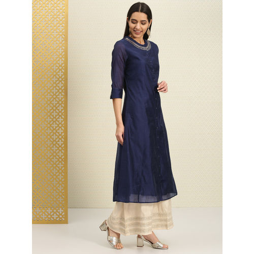 House of Pataudi Women Navy Blue Solid A-Line Kurta