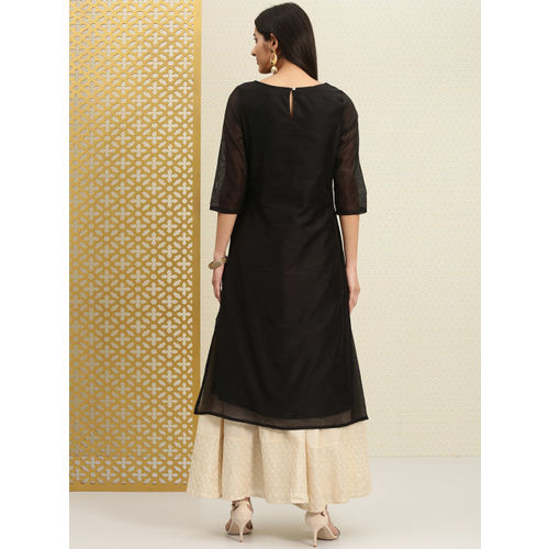 House of Pataudi Women Black Yoke Design Straight Kurta