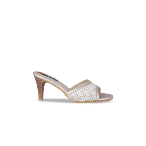 MSC Women White Woven Design Mules