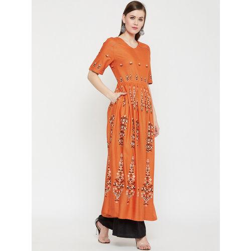 RARE ROOTS Women Orange Printed Anarkali Kurta