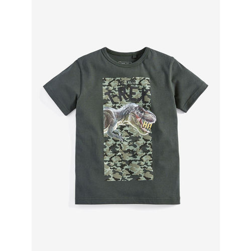 next Boys White Printed Round Neck T-shirt