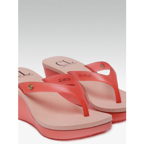 Carlton London Women Pink Solid Wedge Sandals