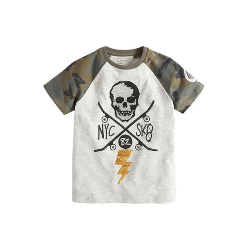 next Boys Grey Printed Round Neck Sequin Skull T-shirt
