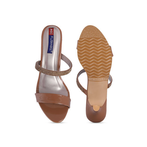 MSC Women Beige Solid Sandals