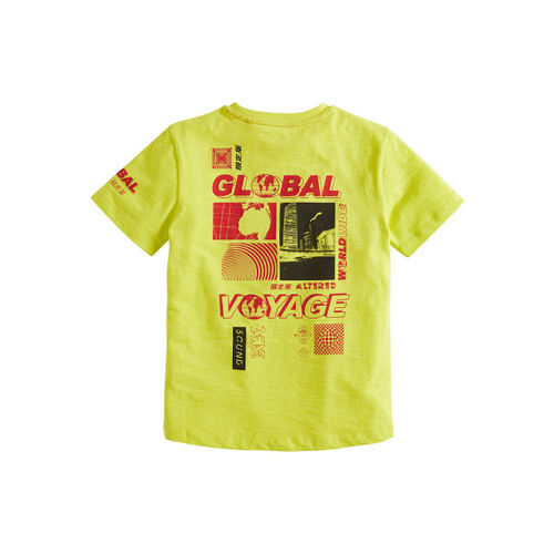 next Boys Yellow Printed Round Neck T-shirt