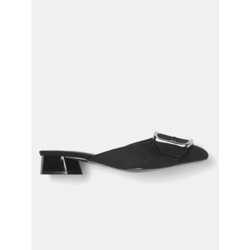 DressBerry Women Black Solid Mules with Buckle Detail