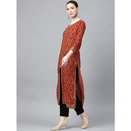 Ishin Women Rust Brown & Black Block Print Straight Kurta