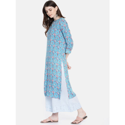 Global Desi Women Blue & Pink Printed Straight Kurta
