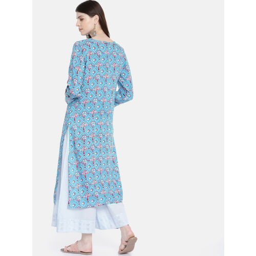 Global Desi Women Blue & Pink Printed Straight Kurta