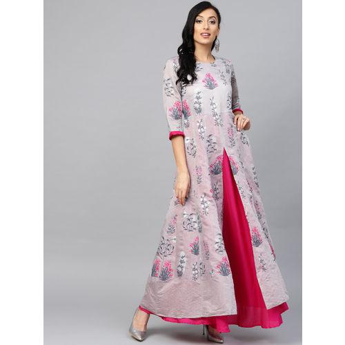 Ahalyaa Women Grey & Pink Printed Layered Anarkali Kurta