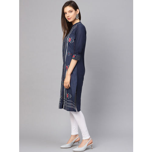 W Women Navy Blue & White Striped Straight Kurta