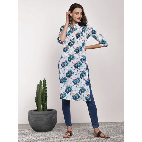 Sangria Women White & Blue Printed Straight Kurta