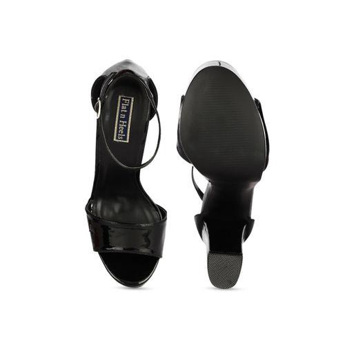 Flat n Heels Black Synthetic Solid Heels