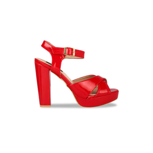 Flat n Heels Women Red Solid Heels