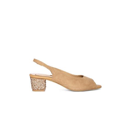 Inc 5 Women Beige Embellished Peep Toe Sandals